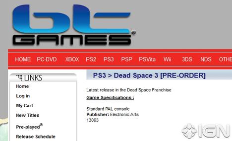 ¿Dead Space 3 en preventa?